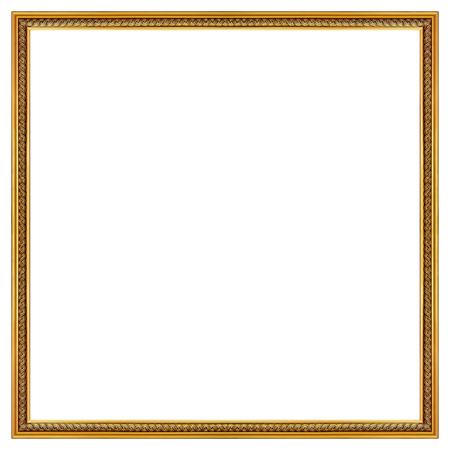 marcos decorados: Marco del oro aislado en el fondo blanco