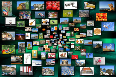 Lots of a variety photos in perspective on green background Stock Photo