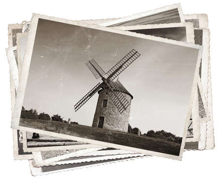 old paper texture: Vintage photos with Old windmill in Normandy, France