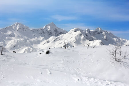 snowbank: Landscape Mountains in winter at the ski resort Vogel, Slovenia Stock Photo