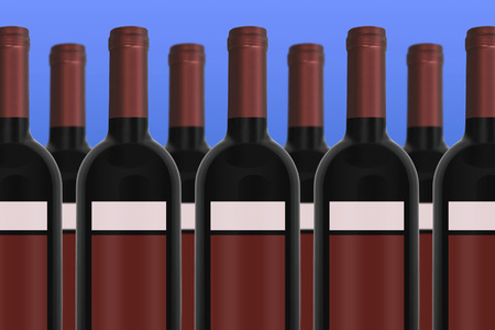 unlabeled: Unlabeled red Wine Bottles with blue background