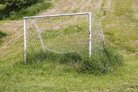 neglected: Neglected soccer goall on an uncut grass Stock Photo