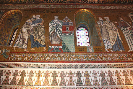 cappella: Detalle del interior de la famosa Capilla Palatina en el Palazzo Reale en Palermo en Sicilia, Italia