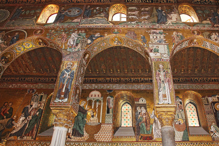 reale: Detail Interior of the famous Cappella Palatina in the Palazzo Reale in Palermo in Sicily, Italy Editorial