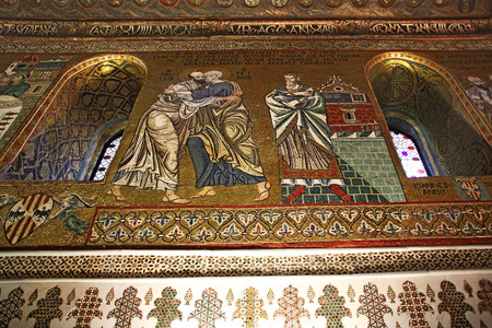 cappella: Detail Interior of the famous Cappella Palatina in the Palazzo Reale in Palermo in Sicily, Italy Editorial