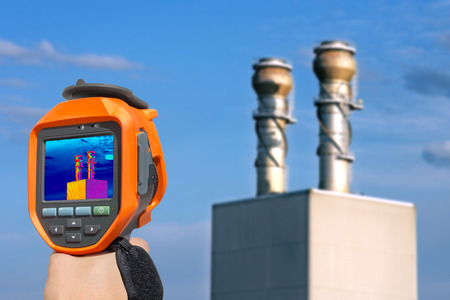 thermal imaging: Record heat emission at the Chimney of energy station with infrared thermal cameras