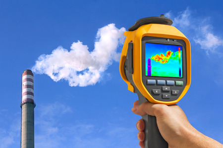 thermogram: Record heat emission at the Chimney of energy station with infrared thermal cameras