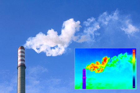 thermogram: Infrared thermography image showing the heat emission at the Chimney of energy station