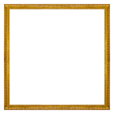 Square Gold Picture Frame Isolated on white background Stockfoto