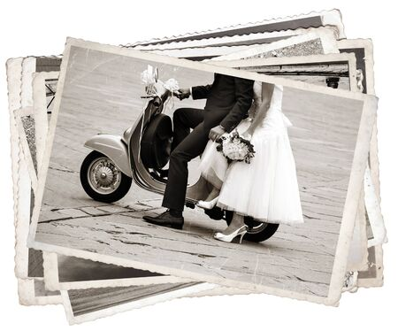 Vintage photos with Young newlywed just married, posing on an old gray scooter