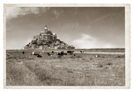 mont saint michel: Le Mont Saint Michel Abbey, Normandy, Brittany, France Vintage photo