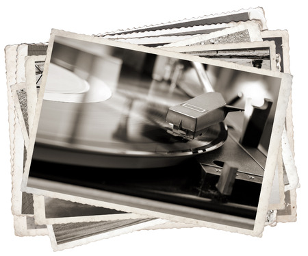 old papers: Vintage photos with Old gramophone play music close up
