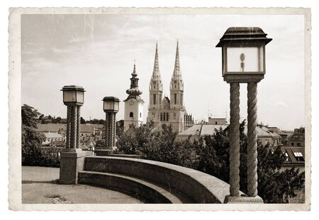 old picture: Panoramic Zagreb, View from the upper town to the Cathedral Vintage photo Stock Photo