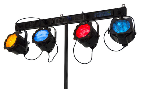 reflectors: Four reflectors on a console isolated on white background