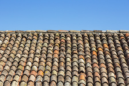 mediterranean houses: Traditional old roof tiles on Mediterranean houses, as texture background Stock Photo