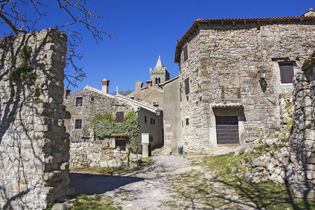 afield: Hum in Istria, Croatia, the smallest town in the world Stock Photo