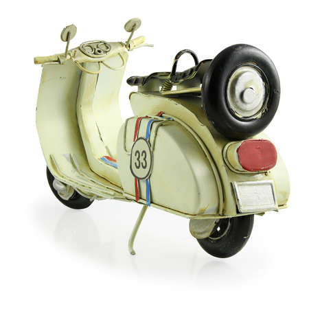 old motorcycle: Old retro toy motorcycle isolated on white background with Clipping Path