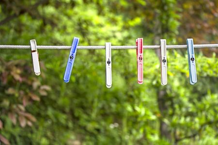 clothes pin: Many plastics clothes pin on washing line