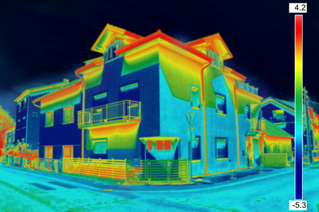 exterior architecture: Infrared thermovision image showing lack of thermal insulation on House