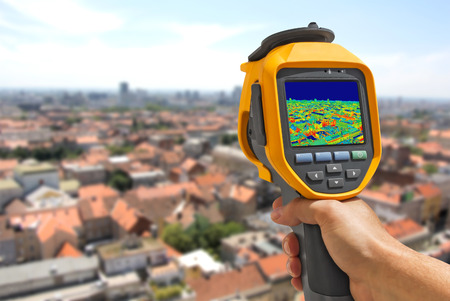 thermal imaging: Recording  panorama of Zagreb With Infrared Thermal Camera
