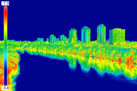 exterior house: Infrared thermovision image panorama of Zagreb, showing difference temperature