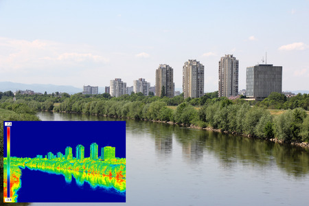 thermogram: Infrared thermovision image panorama of Zagreb, showing difference temperature