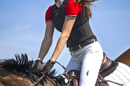 A rider on horseback competing in equestrian tournament