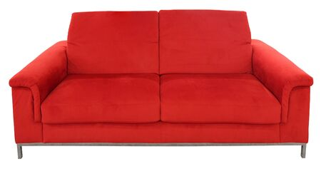 Red two seat sofa isolated on white background with Clipping Path Stock Photo