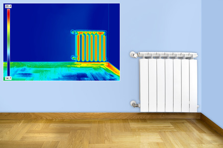 Infrared Thermal Image of Radiator Heater in room photo