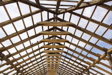 Wood house roof skeleton under construction