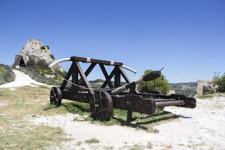 fling: Old wooden medieval catapult at Les Baux de Provence, France Stock Photo