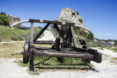 counterpoise: Old wooden medieval catapult at Les Baux de Provence, France Stock Photo