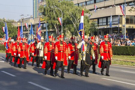 parades: Zagreb, Croatia - August 04, 2015: Military festive parade of the Croatian army on the anniversary of the liberation action Storm in downtown Zagreb. Editorial