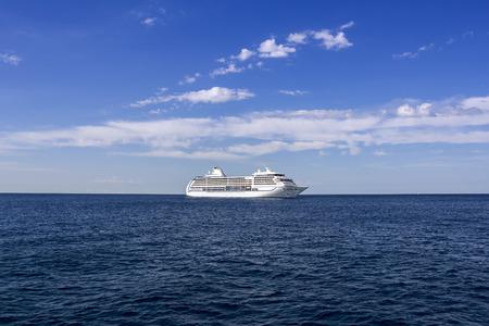 lifeboats: The white passenger ship sailing on the Mediterranean Sea Stock Photo