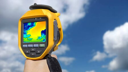 imaging: Recording Clouds in the blue sky with Infrared camera Stock Photo
