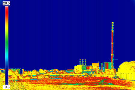 thermography: Infrared thermography image showing the heat emission at the Chimney of energy station