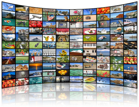 network: A variety of images as a big video wall of the TV screen