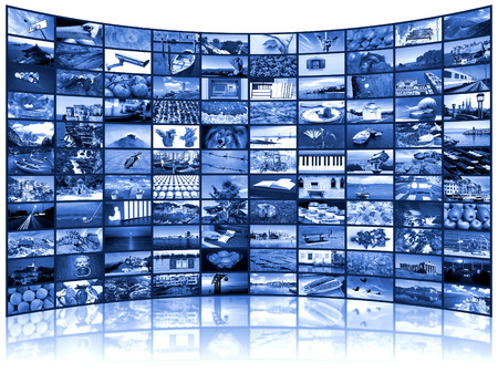 multi media: A variety of images as a big video wall of the TV screen