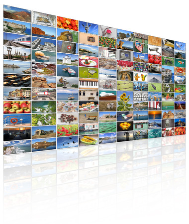 technology collage: A variety of images as a big video wall of the TV screen