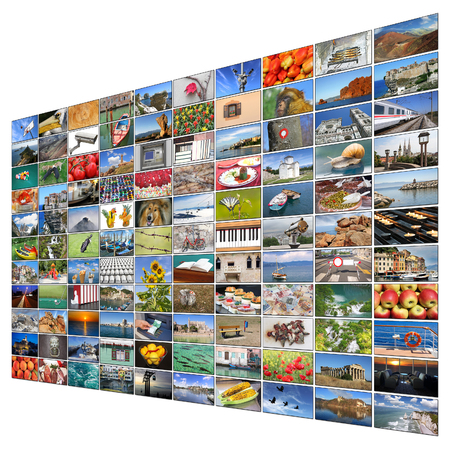 video wall: A variety of images as a big video wall of the TV screen