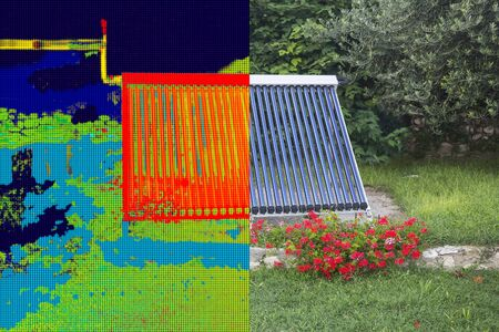 thermogram: Infrared and real image of Vacuum solar water heating system Stock Photo