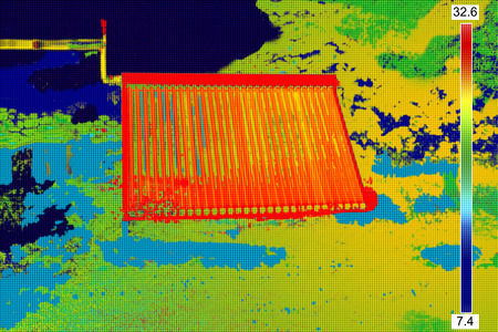 thermogram: Thermovision image of Vacuum solar water heating system