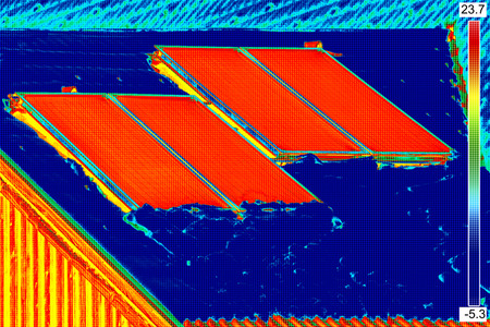 thermogram: Thermovision image of Photovoltaic Solar Panels on the roof House