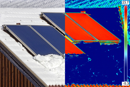 ir: Infrared and real image of Photovoltaic Solar Panels on the roof House
