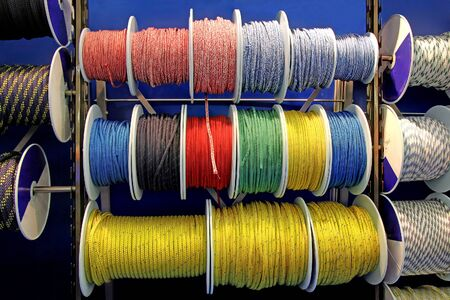climbing cable: Collection of various ropes for hiking and sailing, coiled on reels