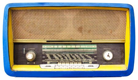 tuner: Vintage Old Wooden Tuner Radio Tuner Isolated on White Background with Clipping Path