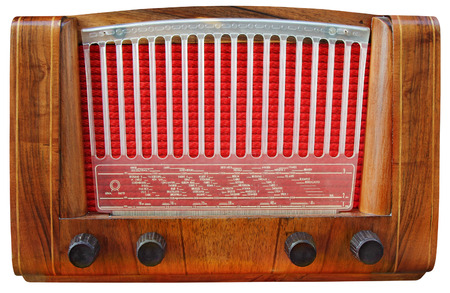 tuner: Vintage Old Wooden Tuner Radio Isolated on White Background with Clipping Path