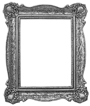 silver plated: Old wooden silver plated frame Isolated with Clipping Path