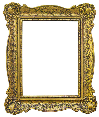 golden frame: Old wooden gilded Frame Isolated with Clipping Path