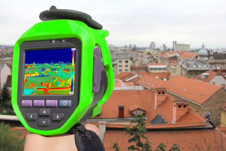 thermogram: Recording  panorama of Zagreb With Infrared Thermal Camera